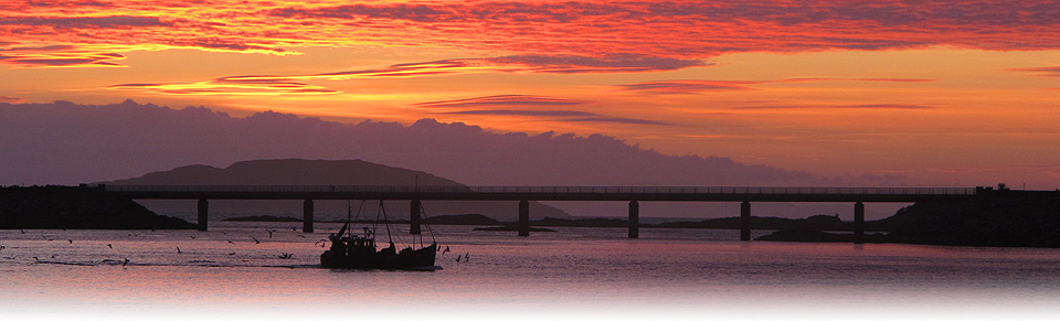 Fishing Boat infront of Skye Bridge, Sunset